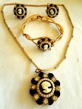 Vintage Parure Set Cameo Faux Pearl Rhinestone Necklace Bracelet Earring... - $80.00