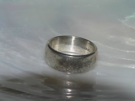 Estate Simple Mexico 925 Signed Silver Wide Band Ring Size 6 – hallmarks on - $15.70