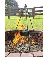 Tall Campfire Cooking Tripod Camping Pit Cookware Stand Cast Iron Oven H... - $62.32