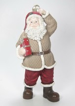 "11"" Tall Santa Claus Figurine w/Tan Coat & Red Hat Holding Bell & Package - $24.70"