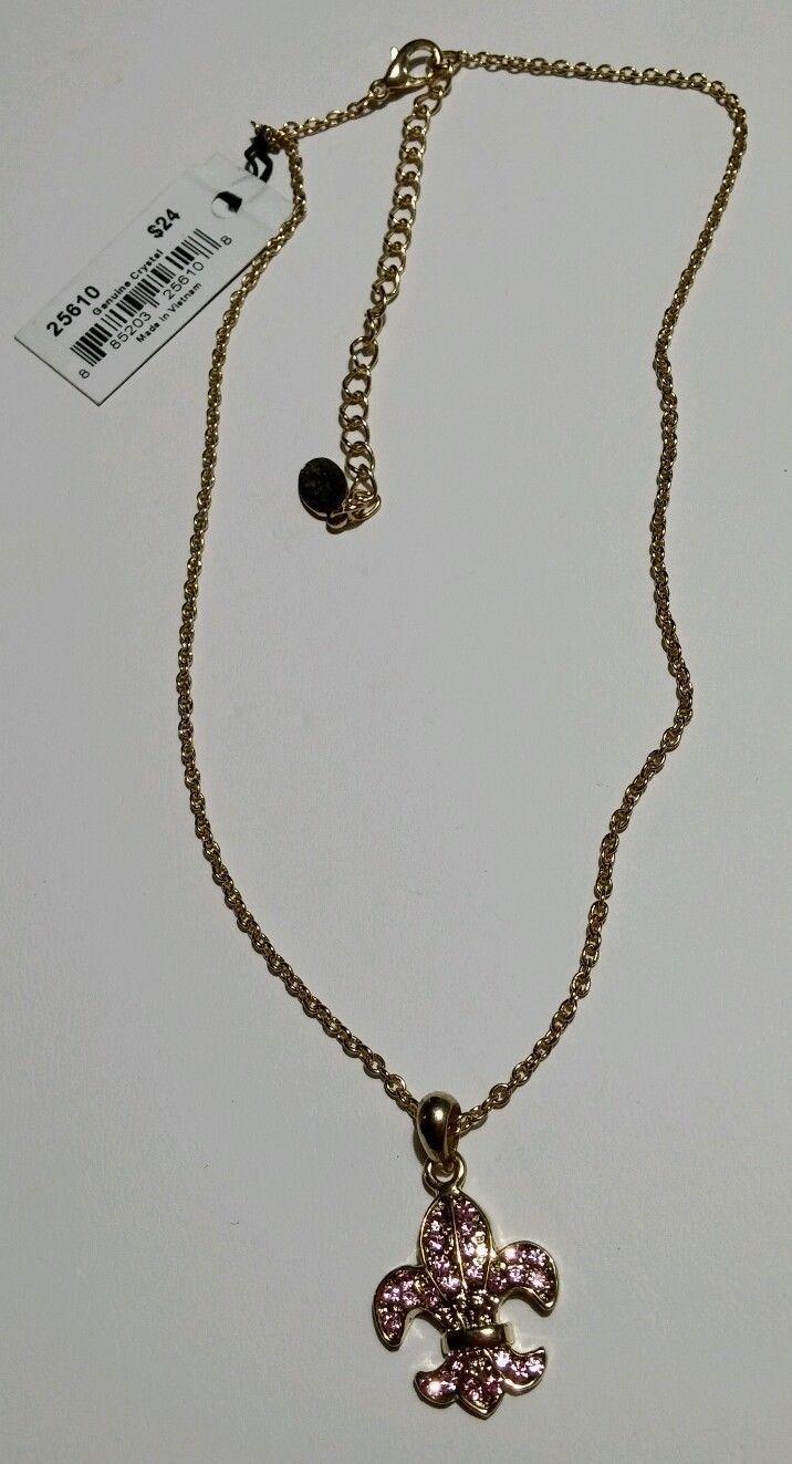 Cookie Lee Pink Crystal Fleu De Lis Pendant Goldtone Necklace image 3