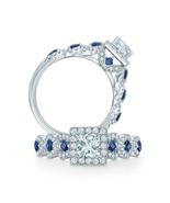 Vera Wang LOVE Collection 14K White Gold Finish Sapphire & Cz Wedding Ring - $89.99