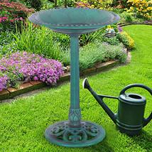 Outdoor Garden Green Pedestal Bird Bath Feeder - £30.93 GBP