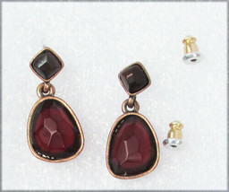 Liz Claiborne post earrings deep red stones brass setting marked LC - $4.50