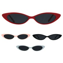 Girls Kid Size Narrow Oval Cat Eye Plastic Retro Mod Sunglasses - $9.95