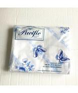 Vintage Twin Flat Sheet NOS Pacific Butterfly Stripe Blue - $24.74