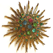 "Vintage Mod STARBURST 2.5"" Jeweled Gold Ton Multi Color Pin Brooch Mid C... - $33.26"