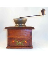 Old Wood Iron Hand Decorated w/ Colorful Tulips Manual Coffee Spice Mill... - $77.00
