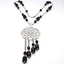 Collier Argent 925, Onyx Noir Tuyau , Médaillon Étoiles et Cercles, Chute image 1