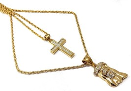 18k Gold Plated Double Chain Layered SS Necklace With Cross and Jesus Piece - $66.43