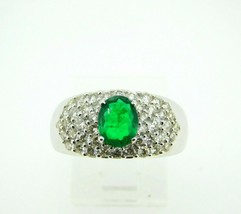 14k White Gold .81ct Genuine Natural Emerald Ring with Diamonds (#J667) - $3,250.00