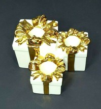 Mikasa 3 Tiered Gift Taper Candle Holder Antique White & Gold Trim Chris... - $12.60