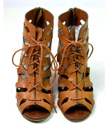 Brown Faux Leather Gladiator Sandals MIA Cut Out Wedge High Lace up Heel... - $14.84