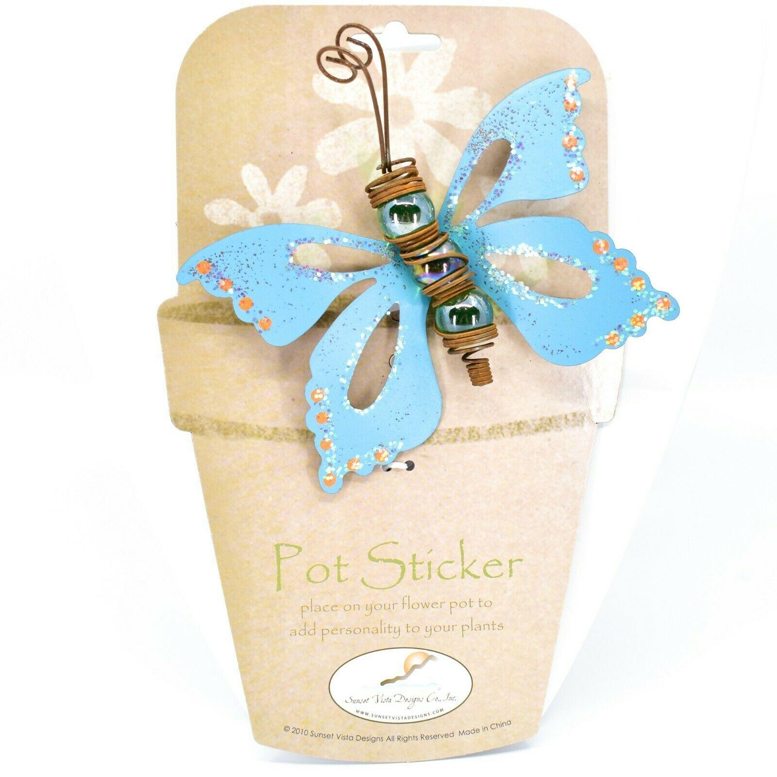 Blue Glitter Butterfly Metal & Glass Ball Garden Pot Sticker Decoration