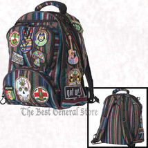 """Hippie 17"""" 600d Polyester Backpack Hippy Fashion Culture Bag 15 Patches ... - $56.94"""