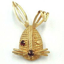 Vintage Sarah Coventry Bunny Head Brooch Pin Gold Tone Red Rhinestone Wh... - $22.14