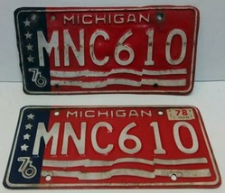 1976 MICHIGAN STATE LICENSE PAIR PLATES MATCHED SET MNC-610 FLAG BICENTE... - $20.34