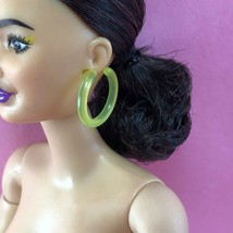 Barbie NEON YELLOW EARRINGS Large Plastic Hoop BMR 1959 Accessory for Doll - $3.00