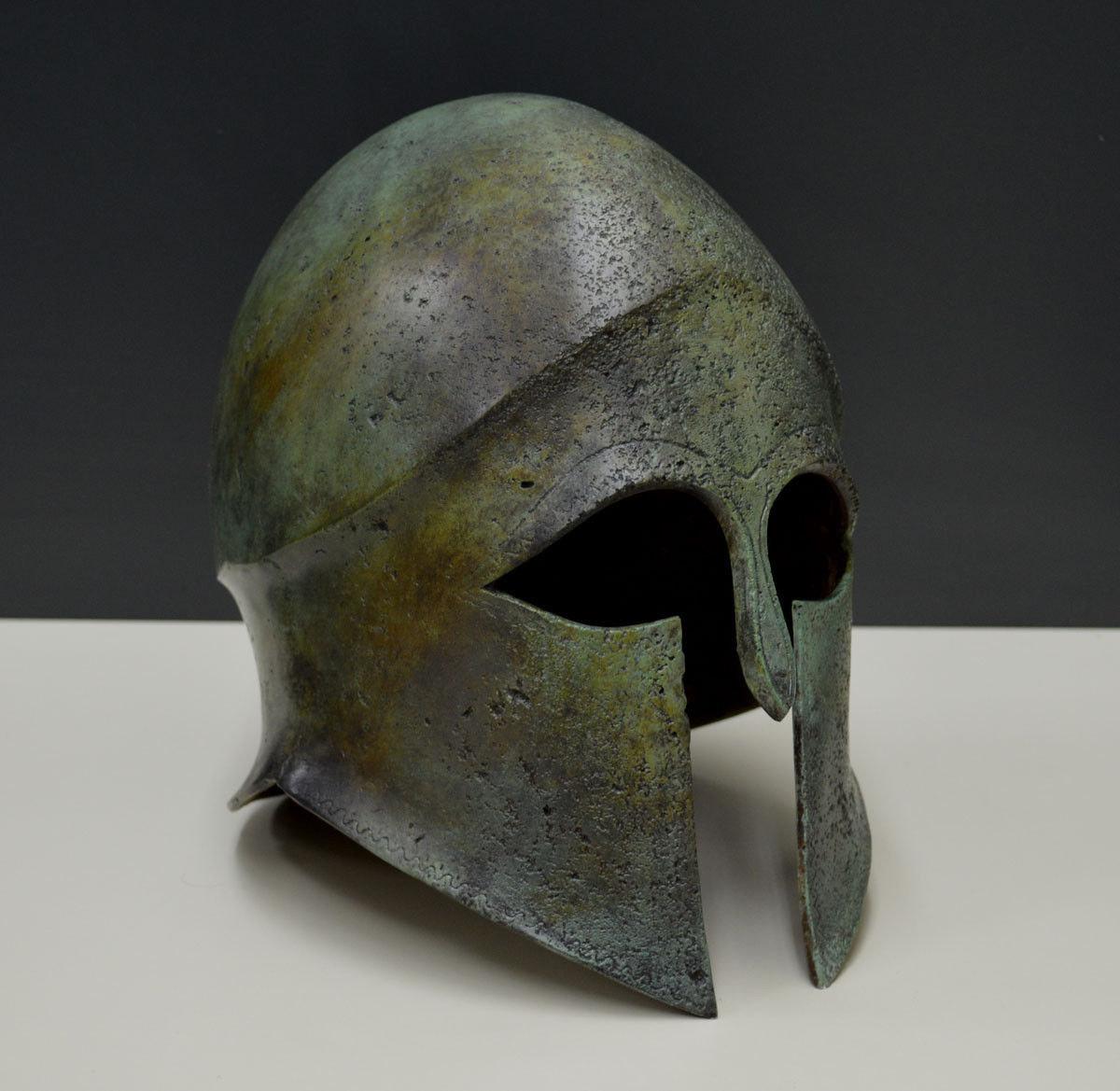 Bronze Helmet Macedonian Ancient Greek Bronze marble based artifact