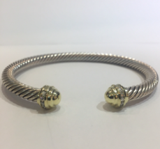 David Yurman Cable Classic Bracelet 18k Gold Pave Diamonds, 5mm - $960.00