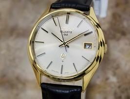 Hommes Seiko QZ 0922-8000 35mm Plaqué Or Quartz Robe Montre W/ Date, C.1970s - $672.19