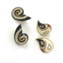Mod Vtg earrings lot of 2 prs Clip Style BOHO deco Geo Enamel Statement  - $13.85