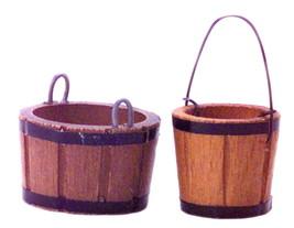 Dollhouse Miniature Wood Buckets (2) 1:12 Scale - $5.95