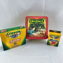 1992 Crayola Colorful Holiday Wishes Tin w/ 2 boxes of Crayons Christmas unused - $15.59