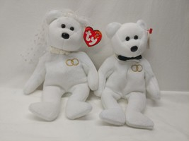 TY Beanie Buddy Set Mr. And Mrs. The Bear Bride And Groom Wedding Set Wh... - $14.84