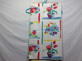 Vintage Tablecloth w Floral and Bright Color Patterns