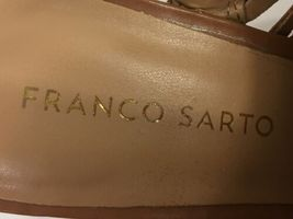 "Franco Sarto ""Sharp"" Brown Leather Slingback Wedges, Women's US Size 6M image 7"