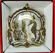 Martinique Caribbean Island Brass Christmas Ornament Souvenir Sea Horses - $14.95