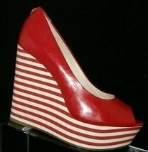 Michael Kors 'Adalia' red patent leather peep toe striped platform wedge... - $32.27