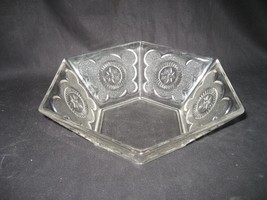 Vintage Crystal Glass Dish Six Sided with Star Design - $12.82