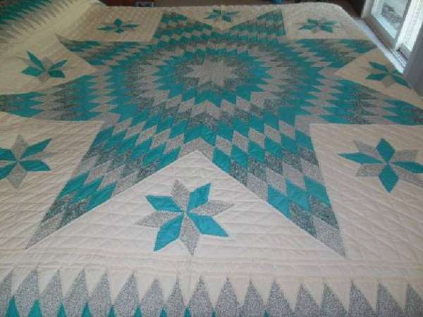 "Lone Star King Quilt Dark Aqua Turquoise Blue Hand Quilted & Pieced 106"" x 107"""