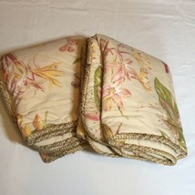 2 King Size Pillow Shams Croscill Lillies Butterflies Tropical Orchid-$ 24.18