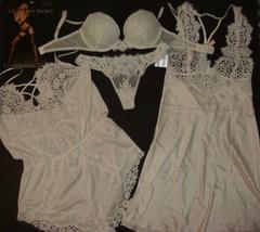 Victoria's Secret 32D Bra Set+S Slip+Romper White Blue I Do Bridal Crystallized - $188.09+