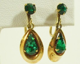 A & Z Emerald Green Teardrop Rhinestone Screw Earrings Gold Filled Haywa... - $18.76