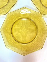 Federal Depression Glass 4 Octagon Plates Center Star Madrid Yellow Ambe... - $60.00