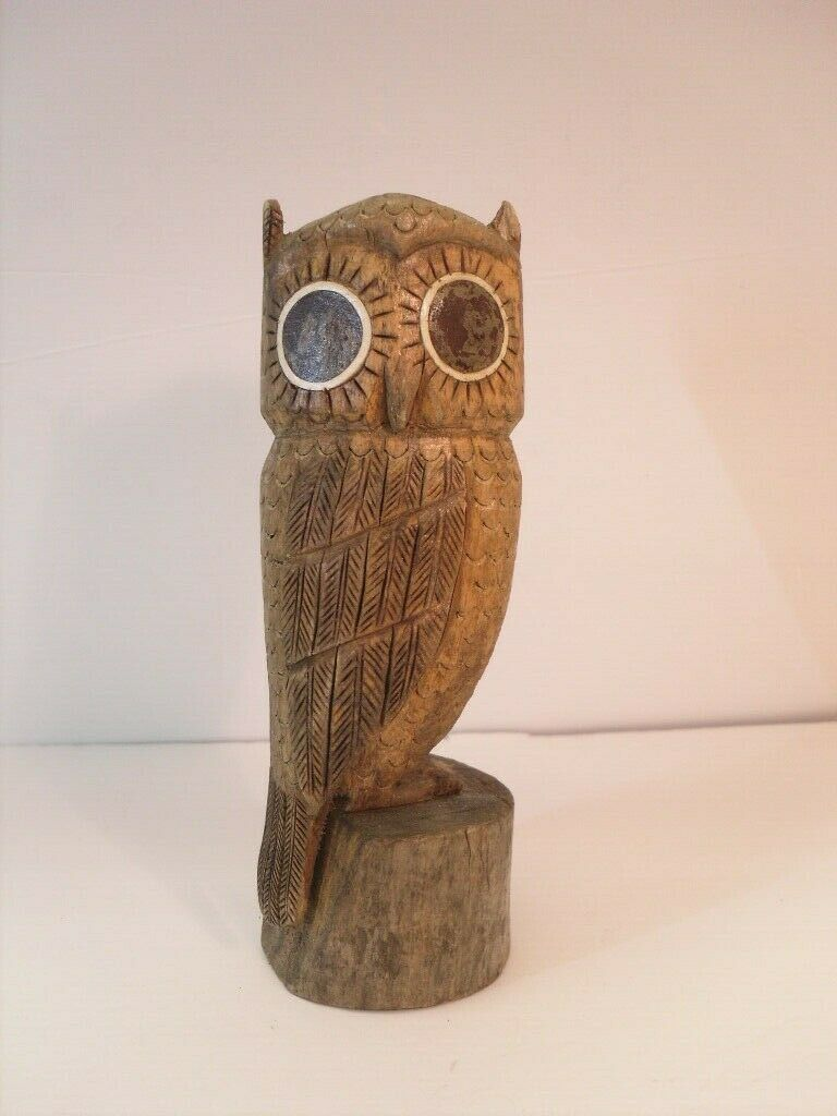"Owl Hand Carved Driftwood Figurine signed ""Terry 81"""