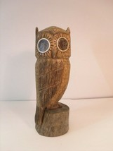 "Owl Hand Carved Driftwood Figurine signed ""Terry 81"" - $23.70"