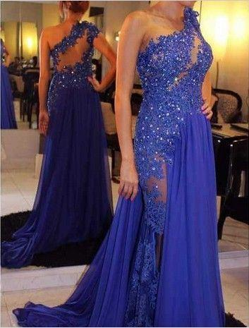 one shoulder prom dress,long prom dress,royal blue prom dress,sexy prom dresses