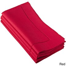Fennco Styles Hemstitched Dinner Napkin, Set of 4 (red) - $24.74