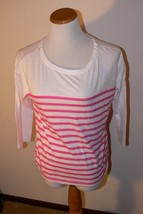 OLD NAVY PINK & WHITE STRIPED Relaxed KNIT Shirt WOMENS S th - $7.99