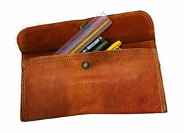 Vintage Leather Pencil Stationery Bag Handmade Pen Pouch Fountain Pen Ho... - $27.65