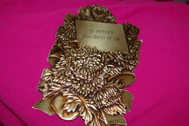 Vintage Birthday Card To Mother From Both Of Us Hallmark 35B 818-1 Gold Flowers - $6.00