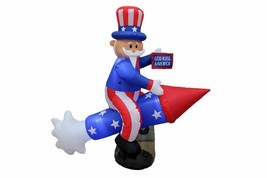 PATRIOTIC INFLATABLE  6 FT LONG UNCLE SAM ON ROCKET 4TH OF JULY PARTY DE... - €76,26 EUR