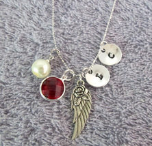 Wing Necklace Memorial Remembrance Necklace Monogram Necklace Personaliz... - $16.80