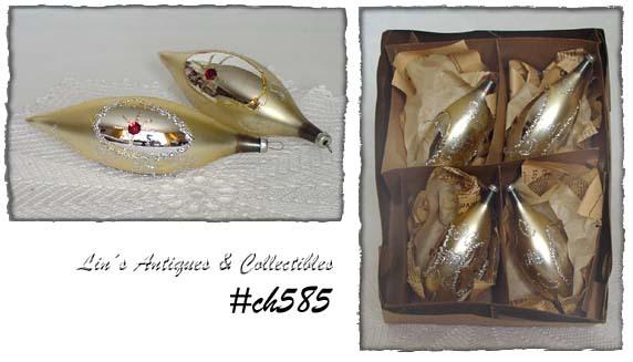 Set of 4 Bradford Large Drop Shape Vintage Glass Ornaments (Inventory #CH585) - $18.00