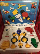 TOMY Preschool Motor Blocks Vehicles, Train, Plane, Race Ca,r Copter 18 Pcs - $9.90